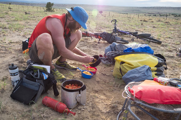 cooking in our cown desert campspot on the great divide